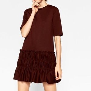 Zara Maroon drop waist dress